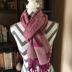 Pashmina Scarf Purple & Cream Colored